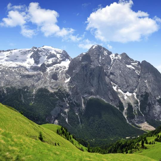 Mount Marmolada, the highest peak of the Dolomites