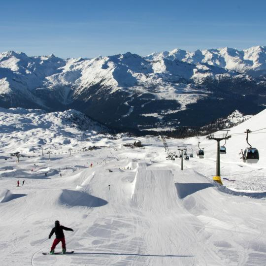 Snowboarding fun in the beautiful Dolomites