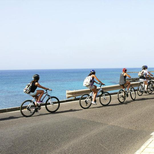 Running and cycling along Lanzarote's coast