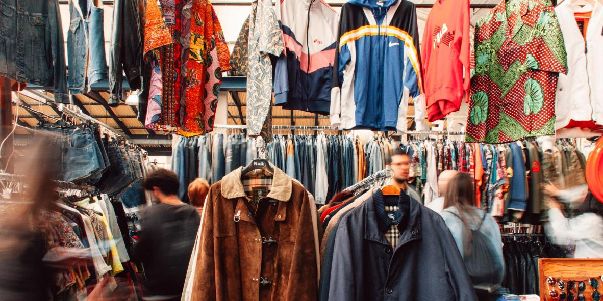 Bright prints and denim are mainstays of East Market stalls