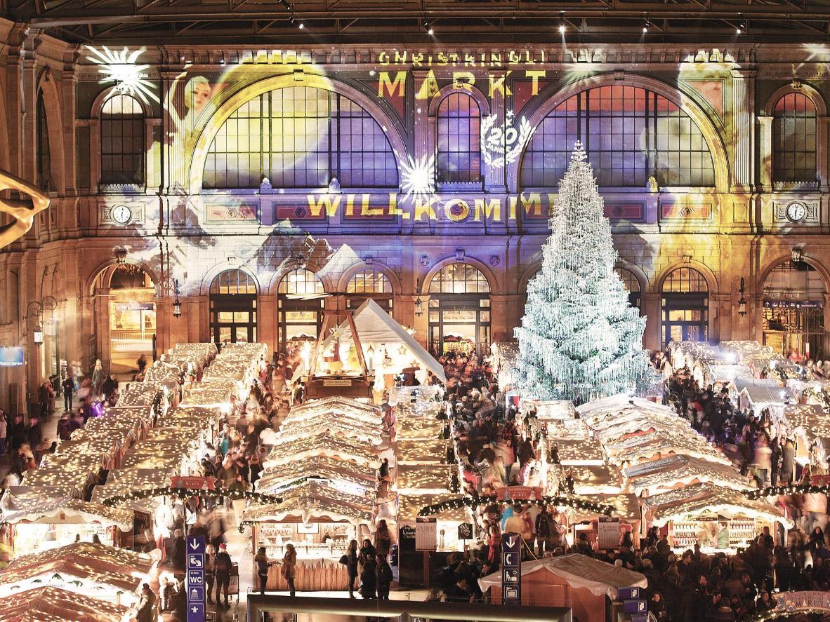 Zurich's festive market features a Swarovski crystal-bedecked tree