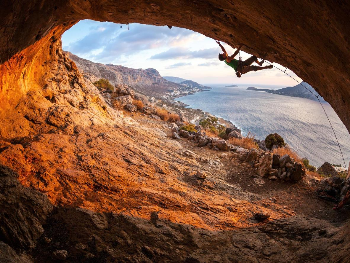A challenging overhang climb in Utah