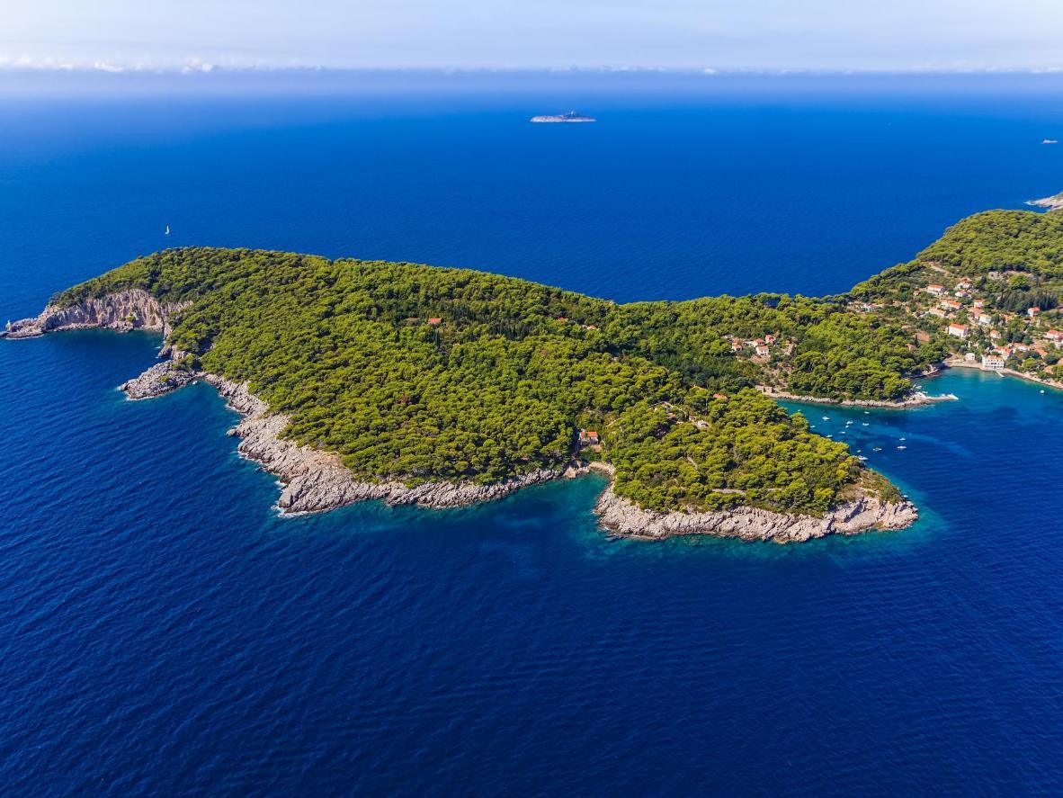 The rocky coastline of Koločep Island, Croatia