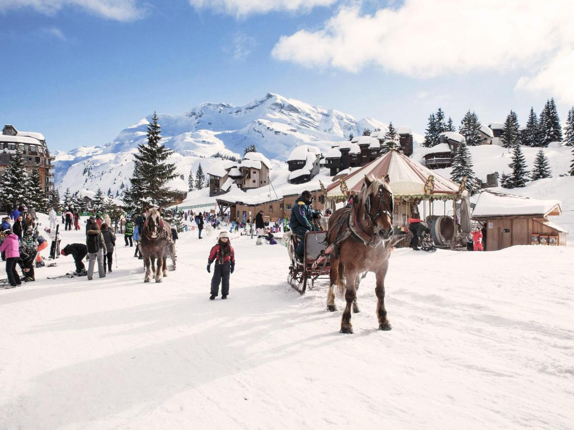 Travel by sleigh at Avoriaz ski resort in the Rhône-Alps