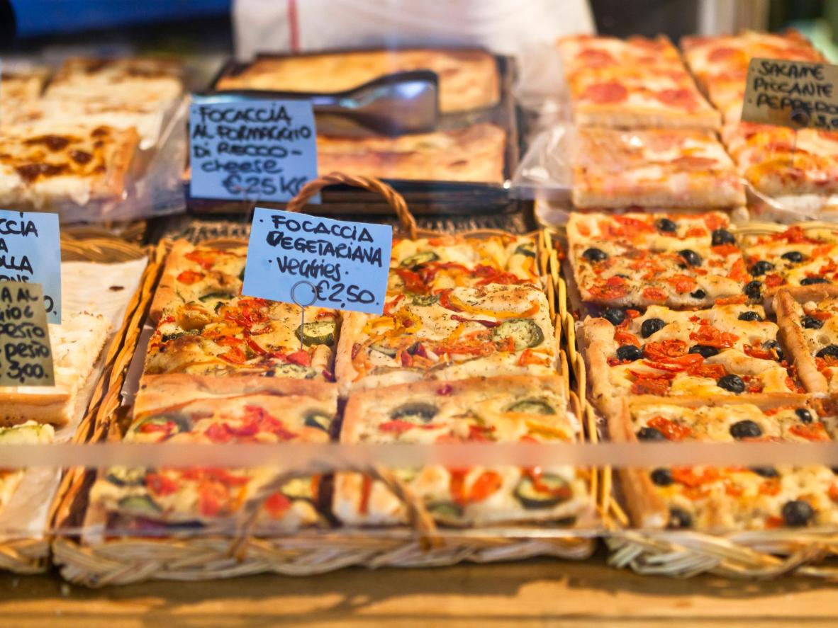 Recco's most famous dish, 'Focaccia col formaggio'