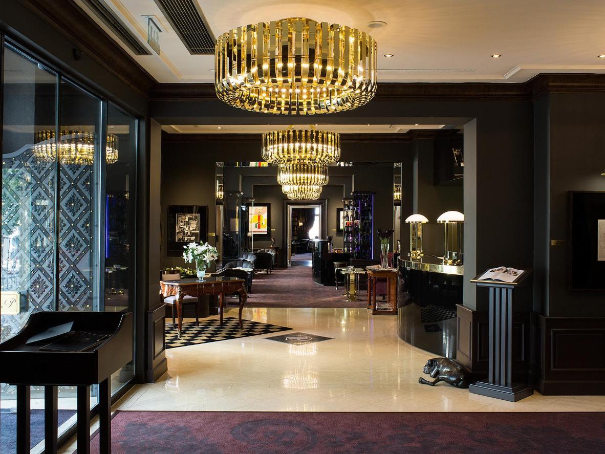 The decadent lobby of Le Palais Art Hotel Prague