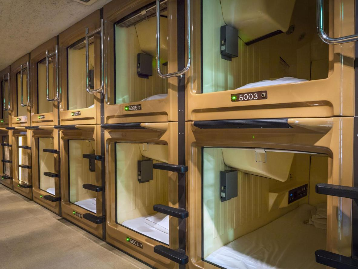Staying in a capsule hotel is a must while in Tokyo