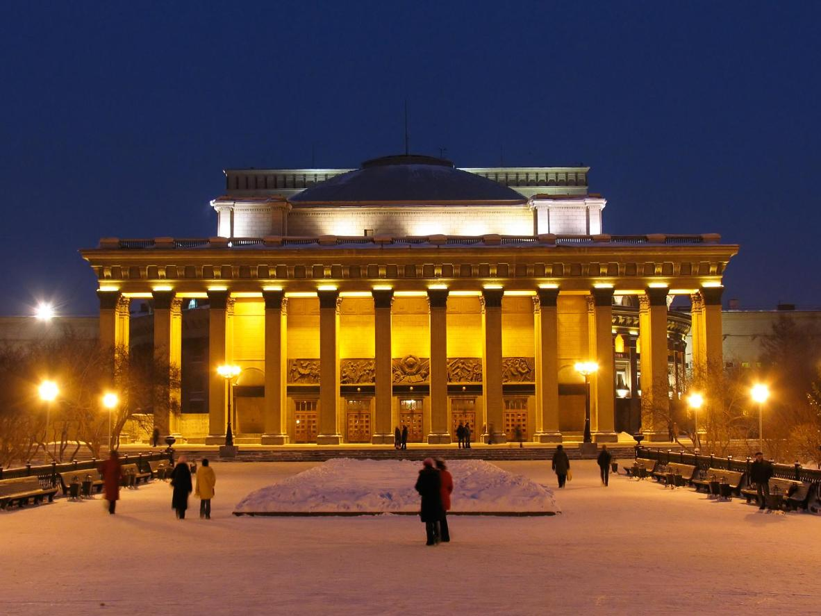 The Novosibirsk Opera and Ballet Theatre is quite a sight when lit up at night