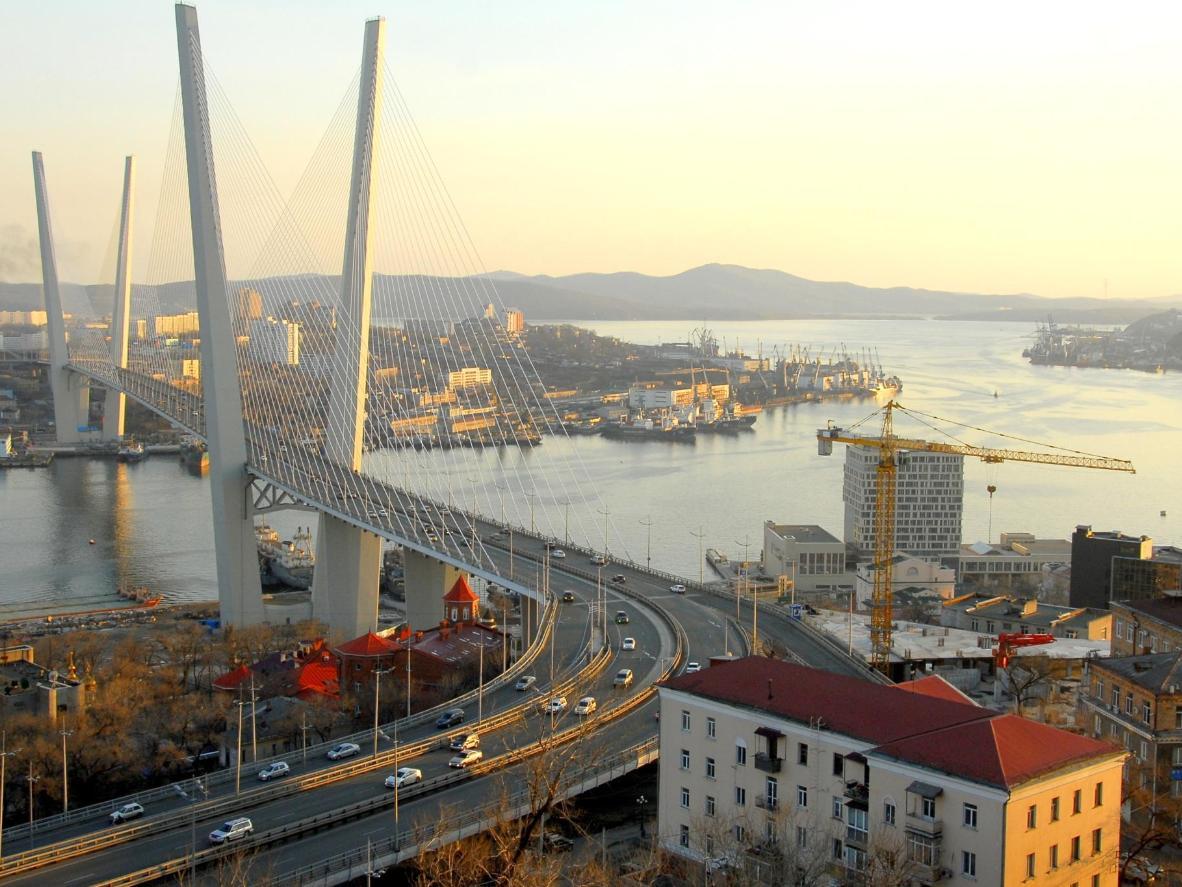 The imposing Golden Horn Bay in Vladivostok, the final Trans-Siberian stop