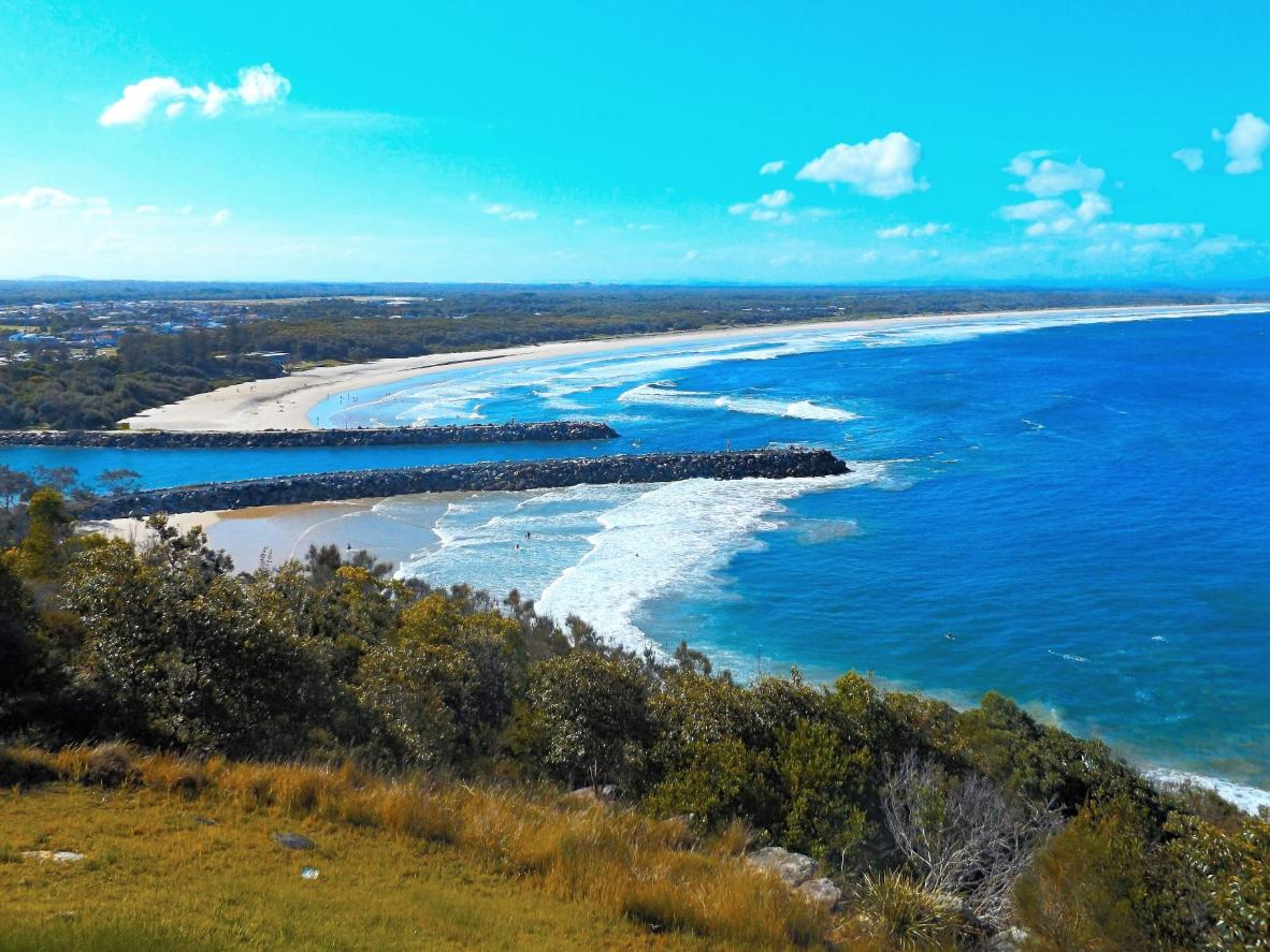 The curved shape of the beach at Evans Head makes it perfect for beginner surfers