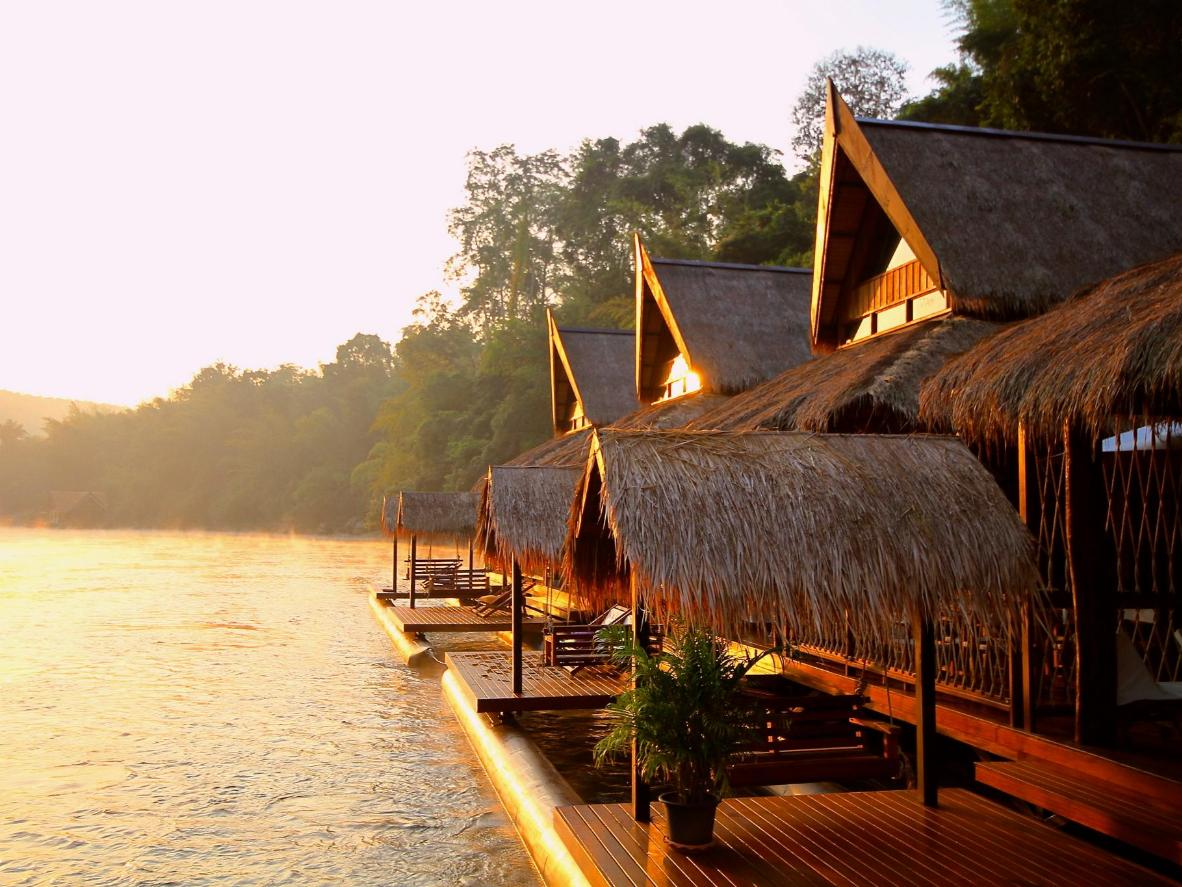 Private sunbeds by the River Kwai