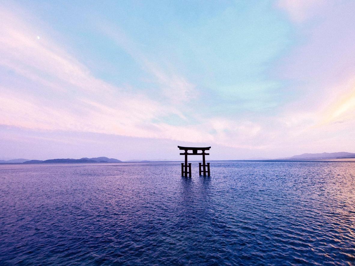 The Torii Gate appearing to float in Lake Biwa, Japan