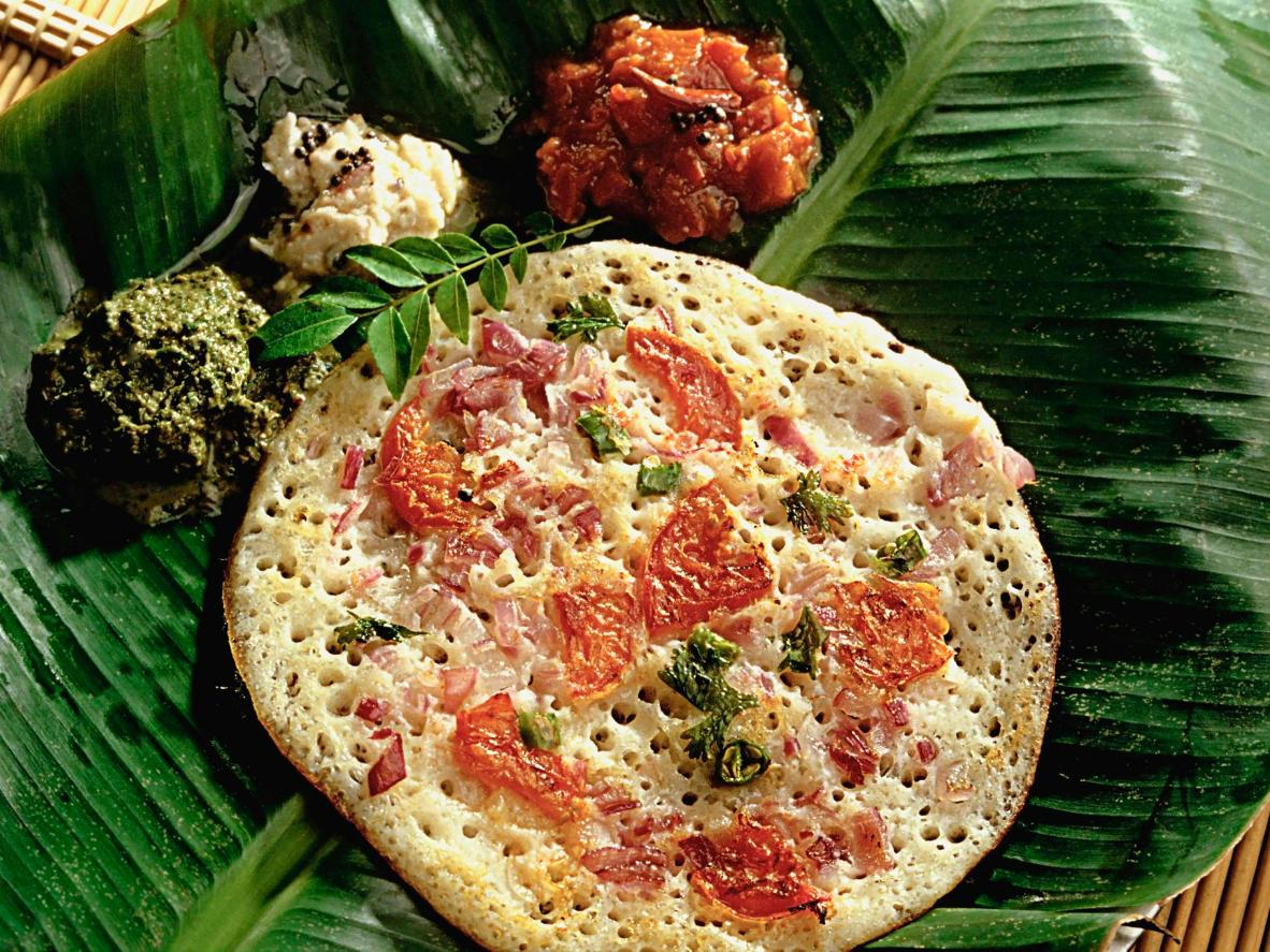 Uttapam toppings are mixed into the batter before frying