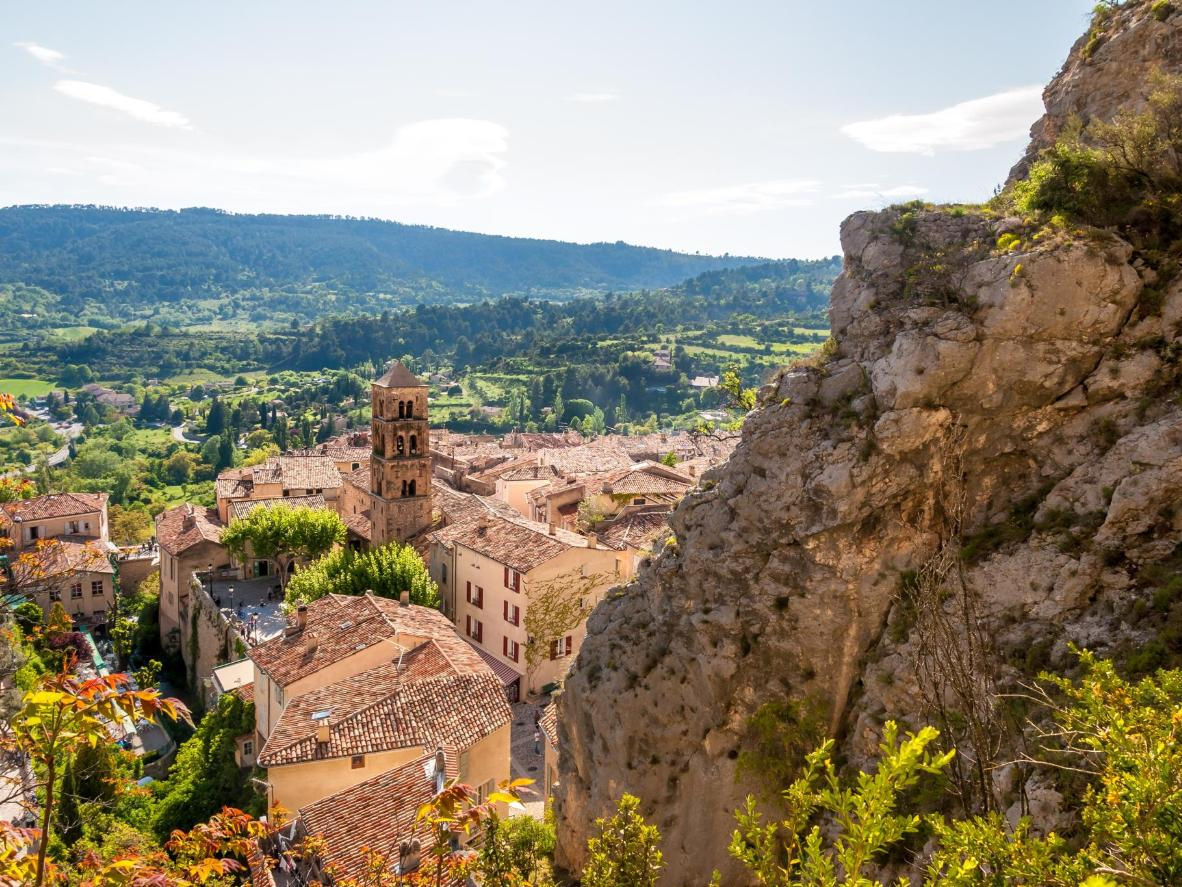 Scenic view of old village Moustiers Sainte-Marie in Provence, France