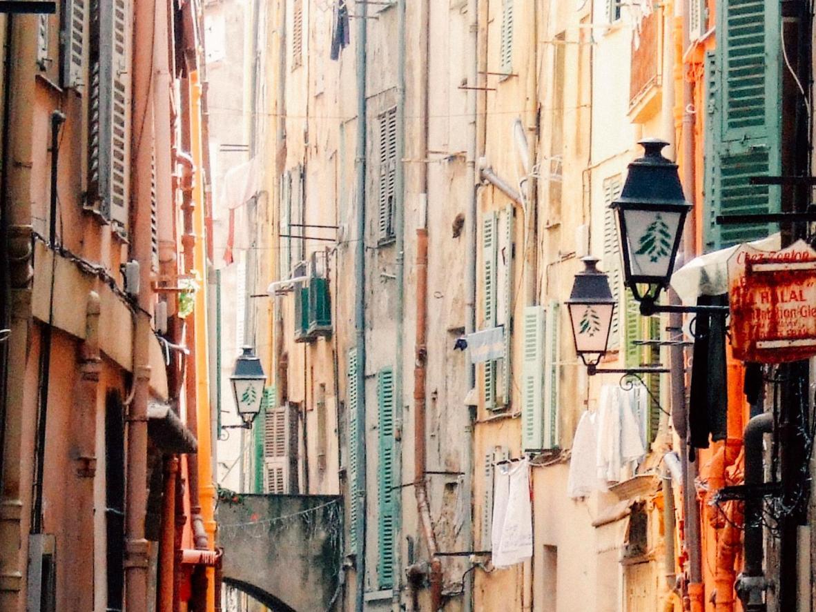 A pastel street in Menton, France