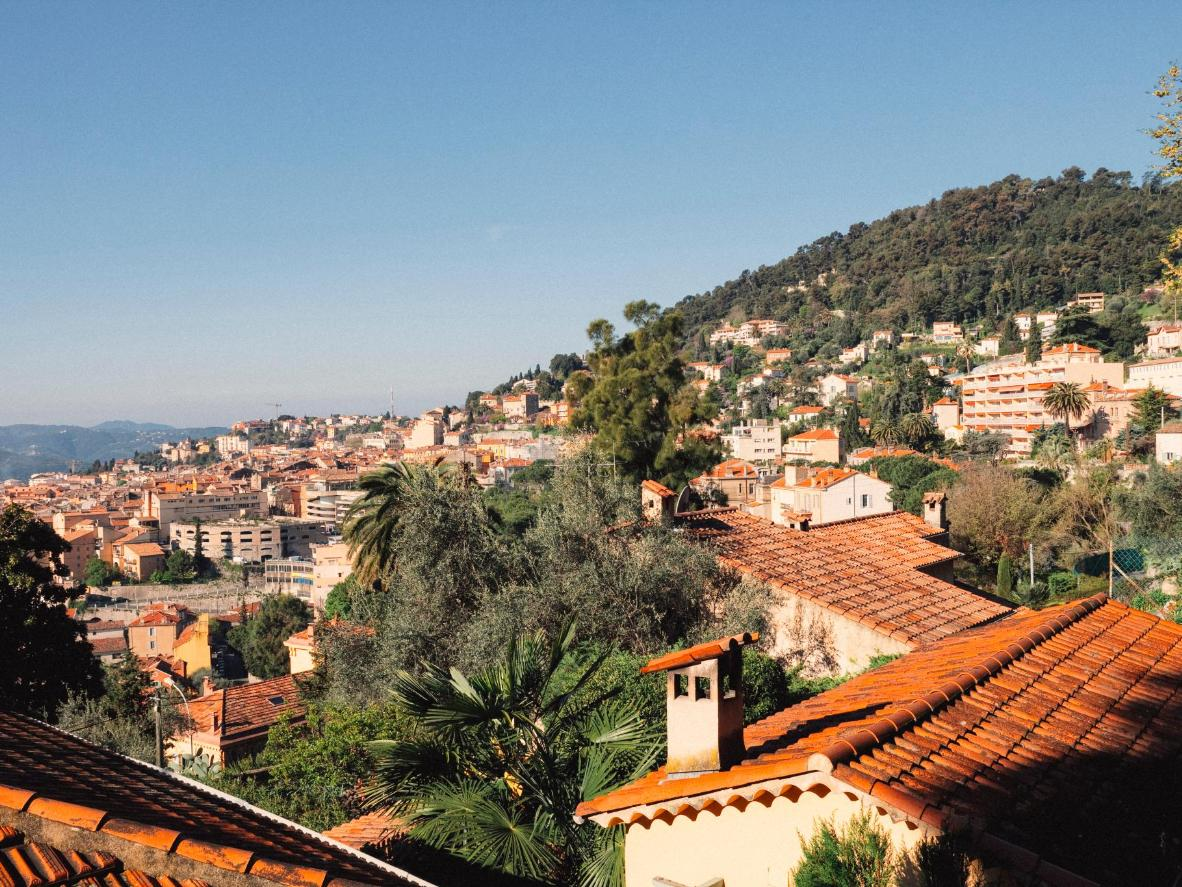 Morning sunlight in the perfume-making village of Grasse, France