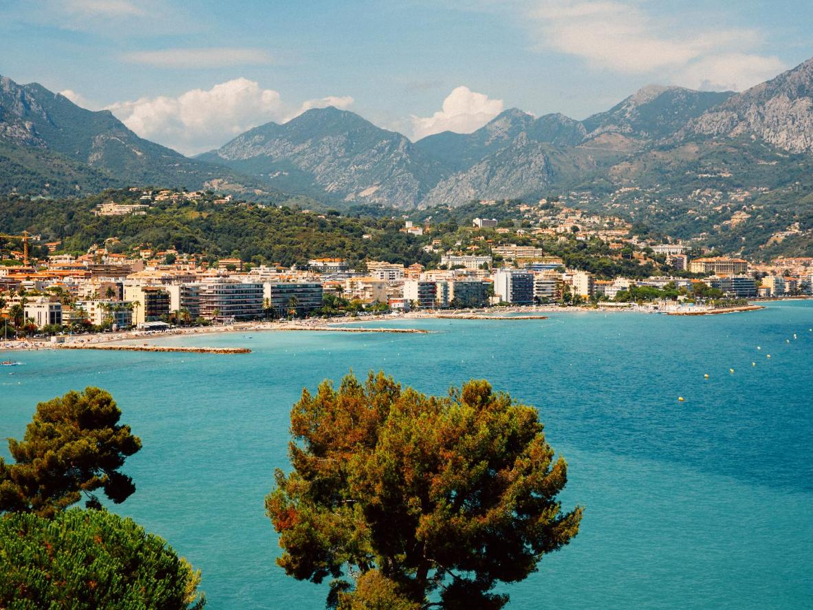 Cap Martin and Roquebrune on a clear summer's day, France