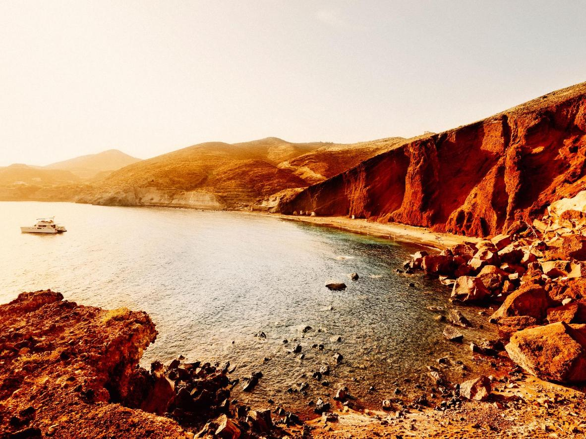 Late afternoon on Santorini's Red Beach