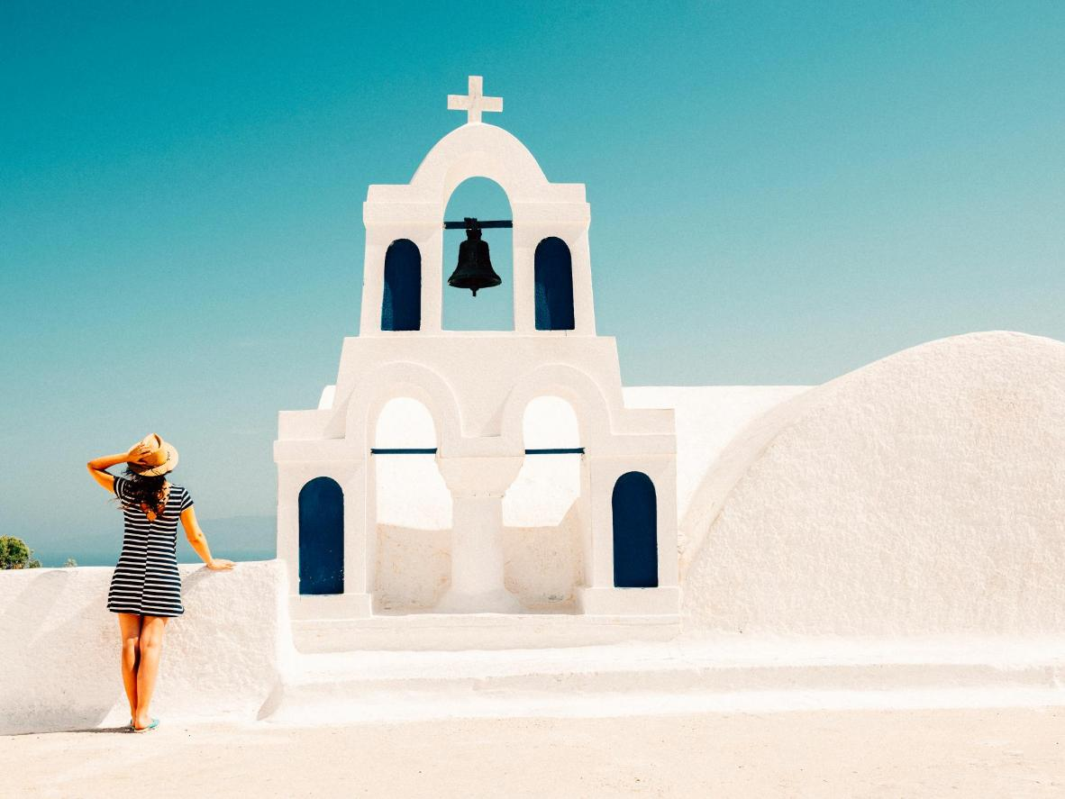 The bright white architecture of Oia