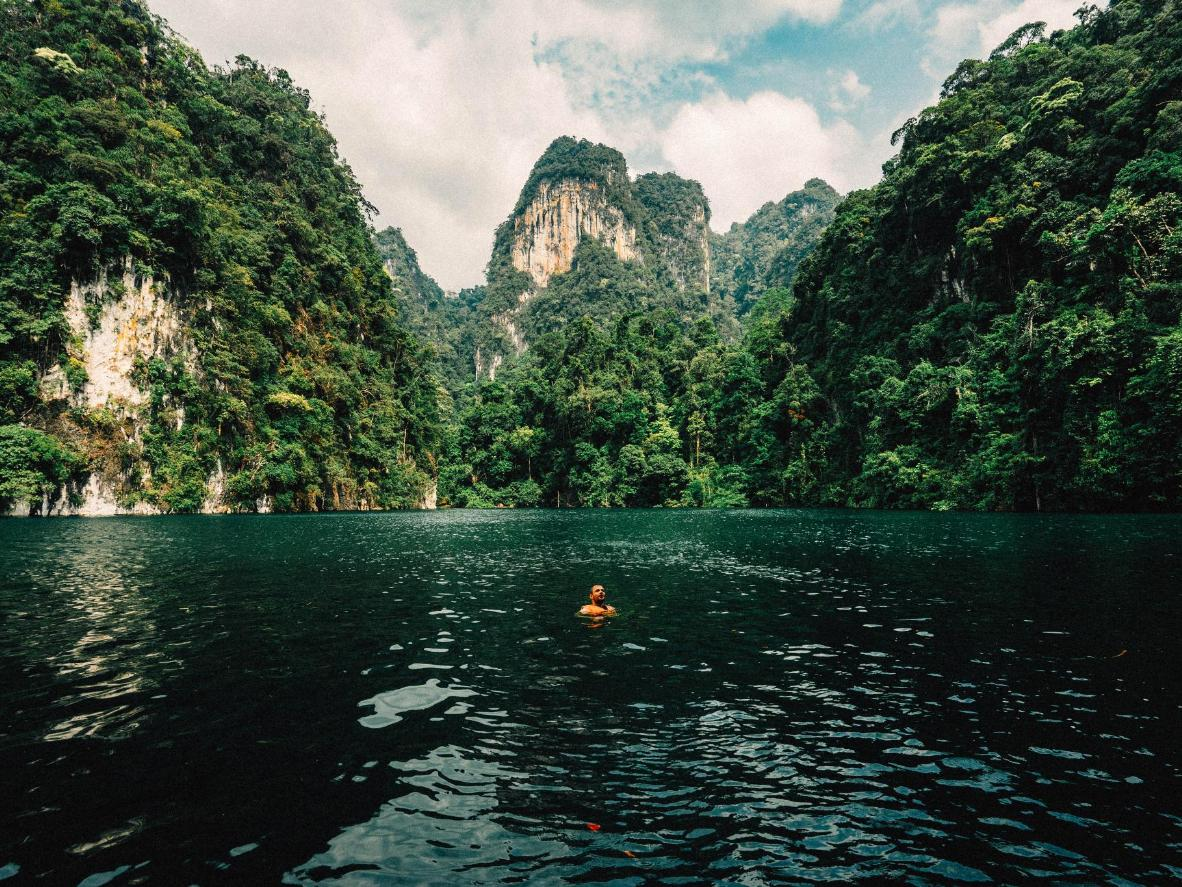 The lake in Khao Sok may be manmade, but the surrounding nature is all natural
