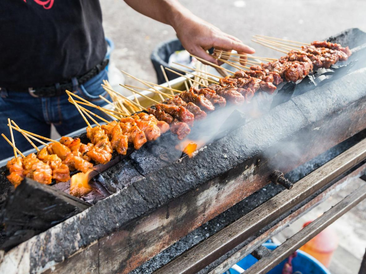 Skewers speared with tasty meat combinations