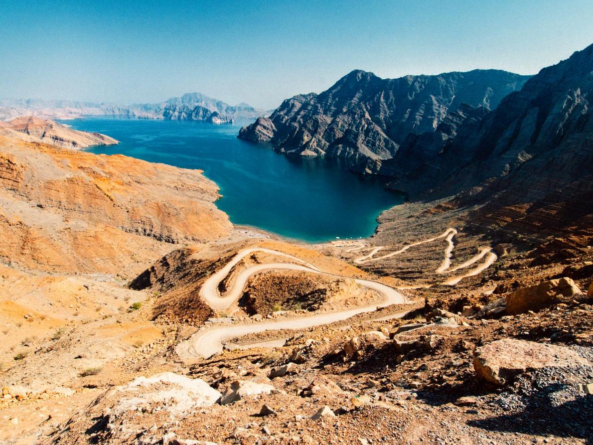 The stunning fjord of Khor Najd in the Musandam peninsula, Oman