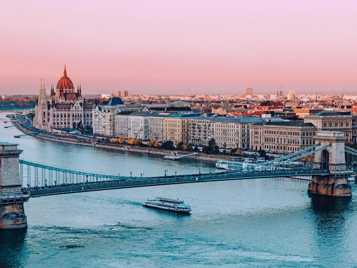 Dusk over the Danube river delta