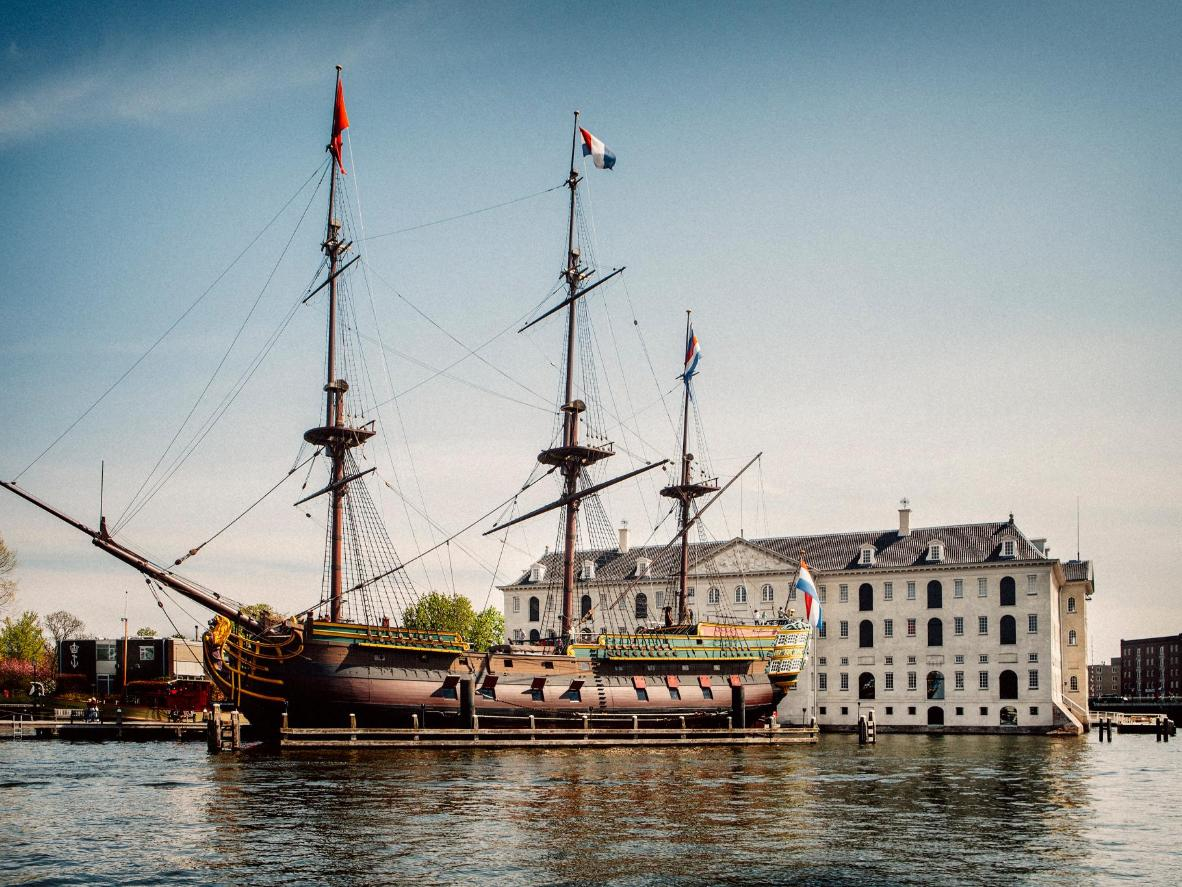 A replica of 18th century ship the Amsterdam, docked outside Het Scheepvaart Museum