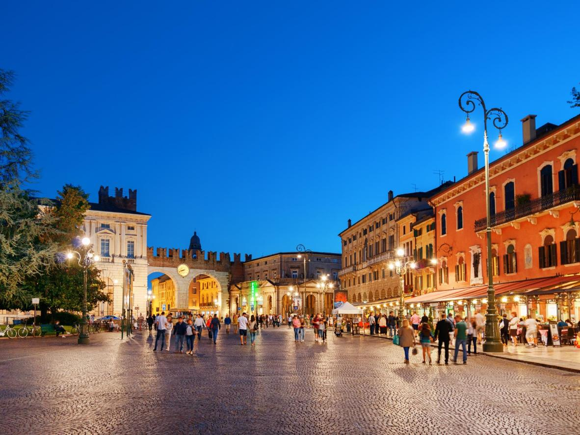 Cobbled streets and balconied buildings in Verona