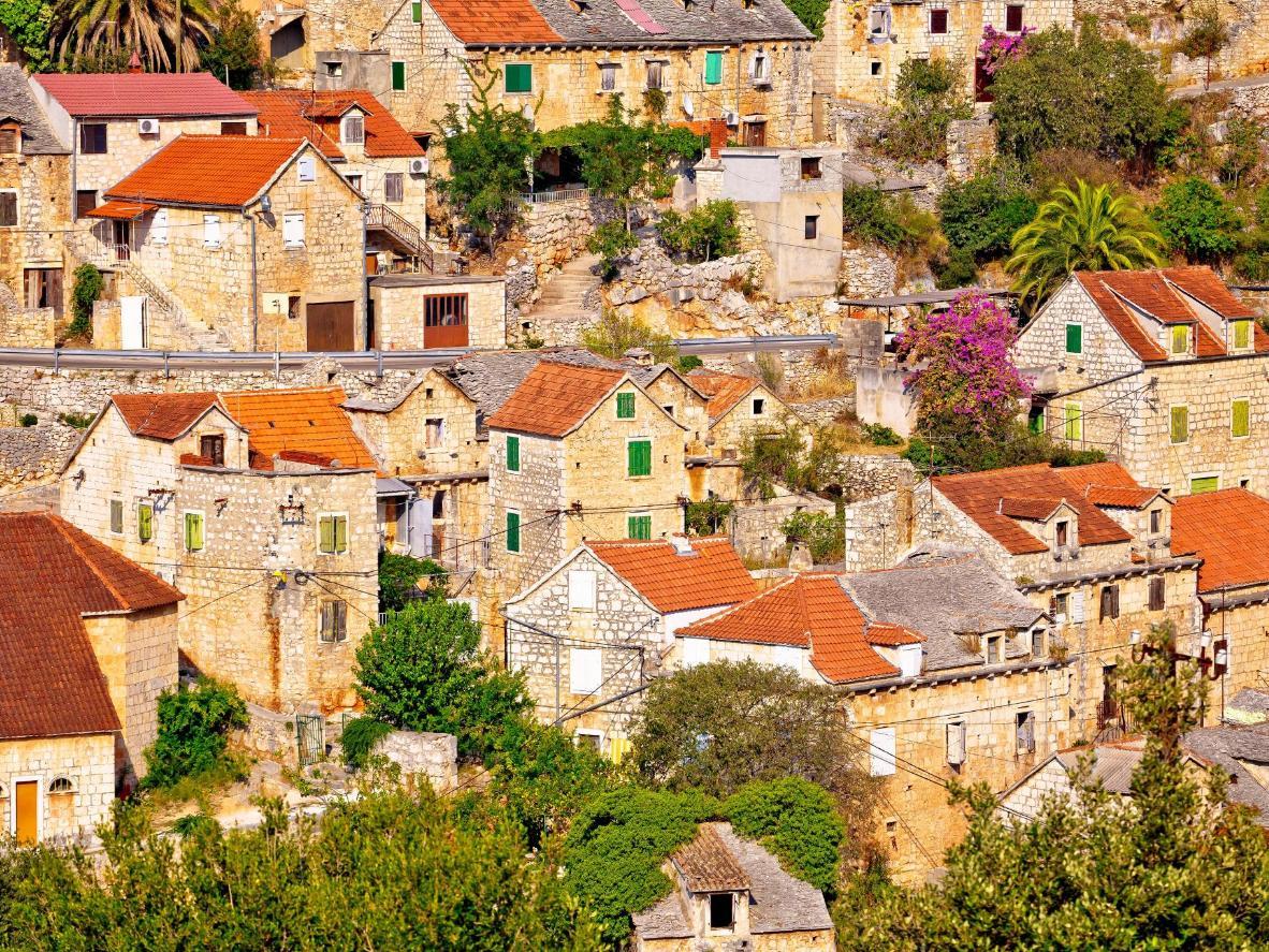 Stone vilage Lozisca on Brac island view, Dalmatia, Croatia