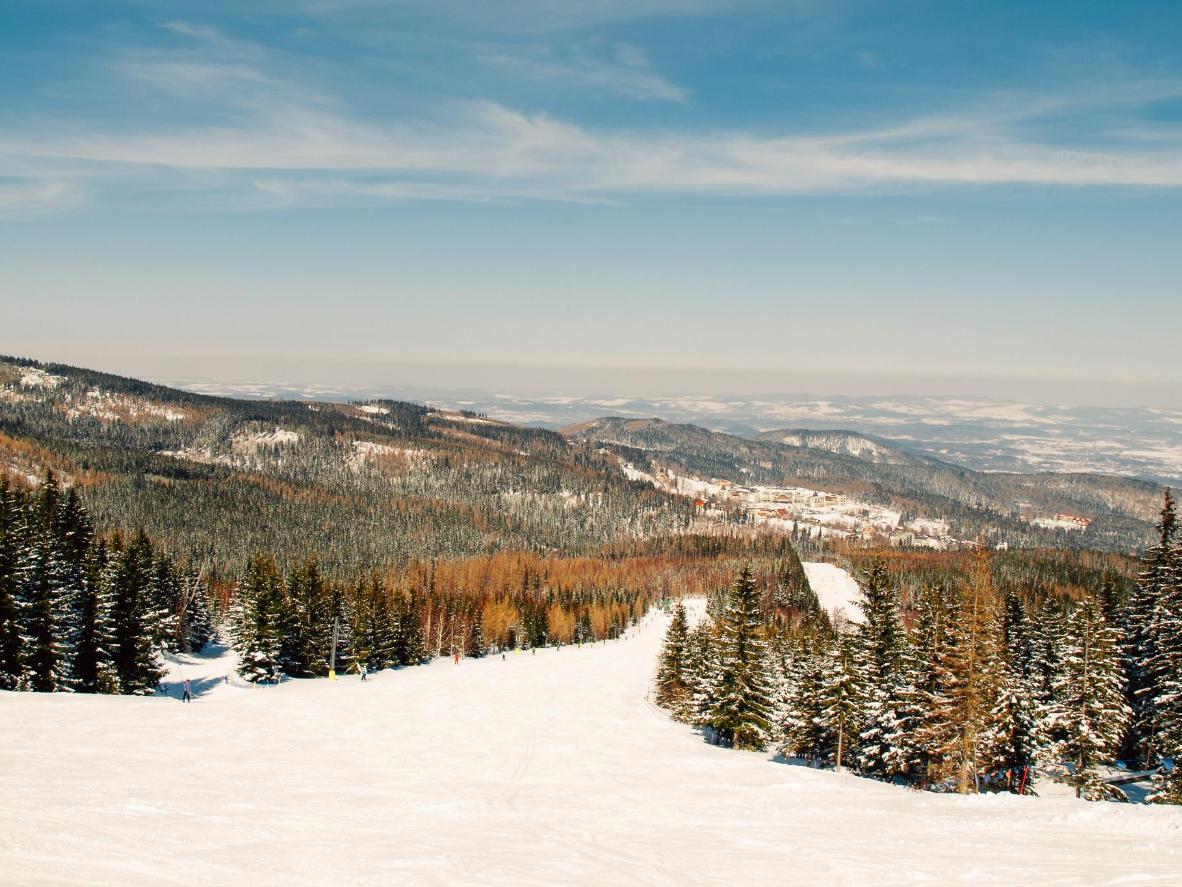 The snow-covered slopes of Mount Śnieżka