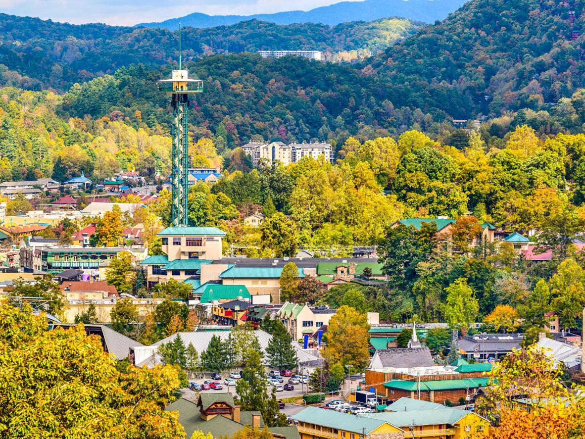 The iconic Space Needle overlooks Gatlinburg's skyline and the Great Smokies