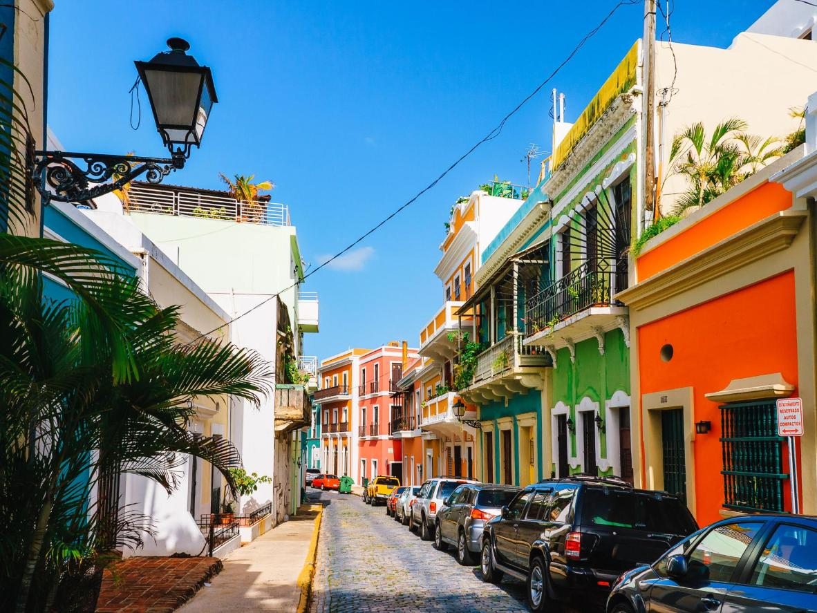 Bright colours and traditional cobblestones in vibrant Old San Juan