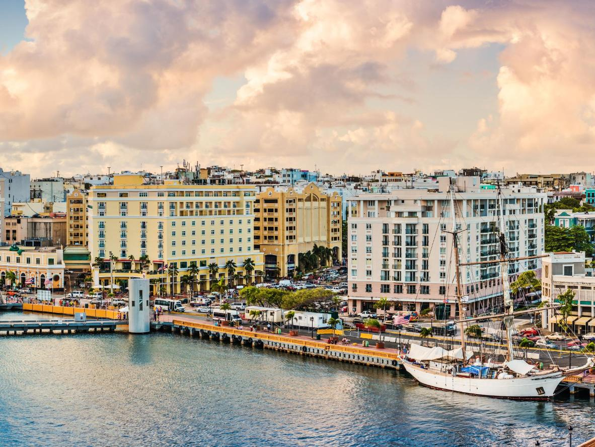 A waterfront view of Old San Juan, Puerto Rico