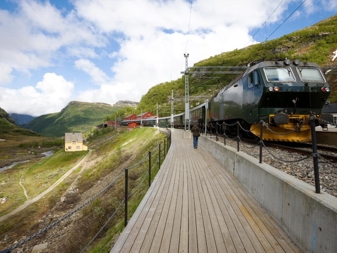 The remote train stop of Myrdal provides views down the Flåm valley