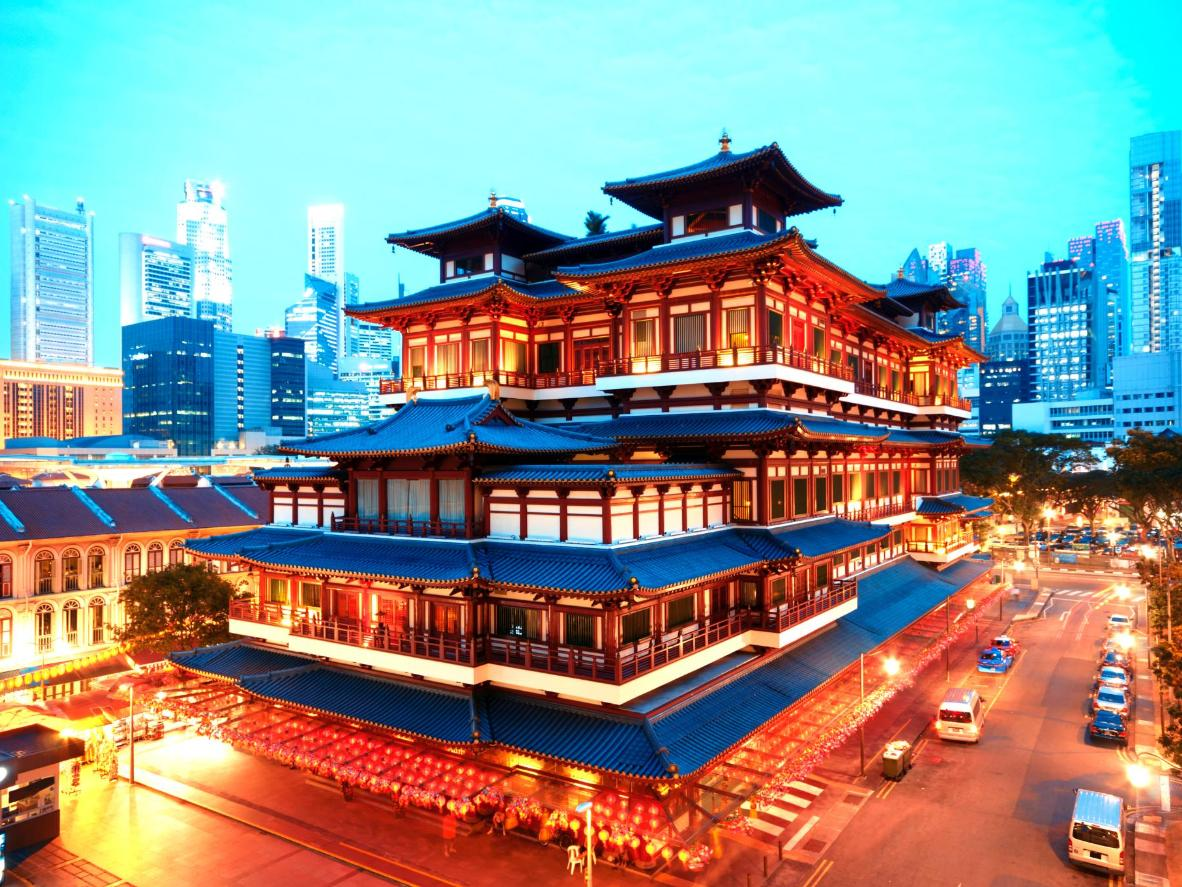 Chinese temples are framed by skyscrapers in Singapore