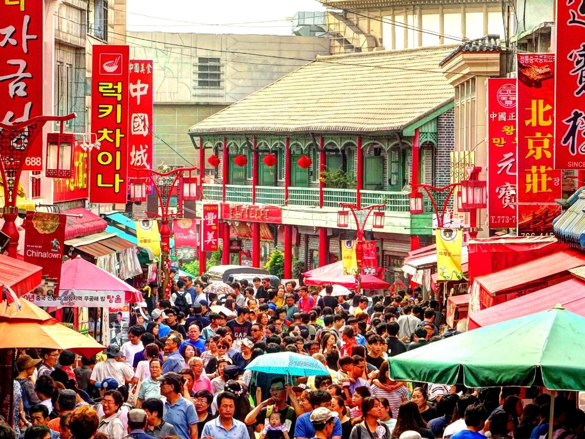Incheon's Chinatown bustles with shoppers on a summer day