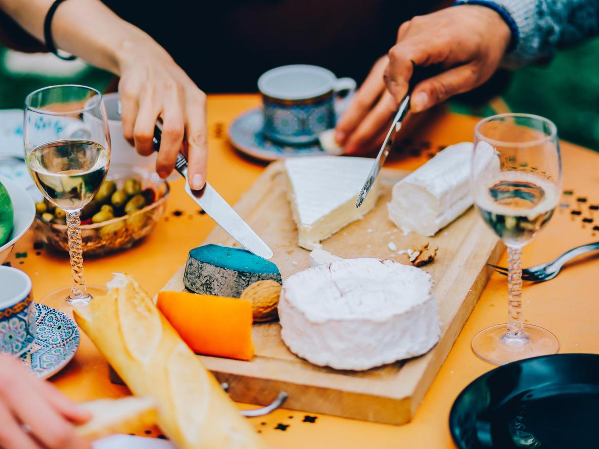 A French cheese platter is best when shared with friends