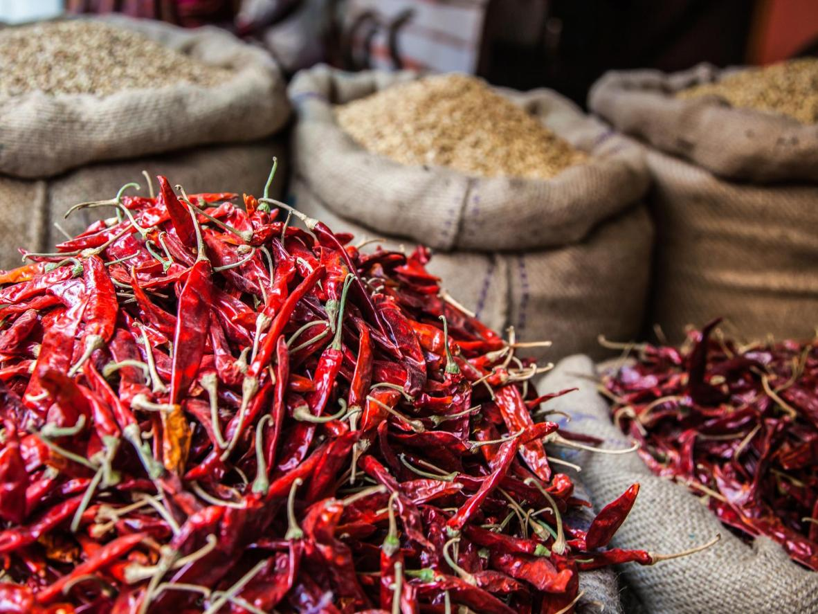 Dried chillies ready to be turned into merken