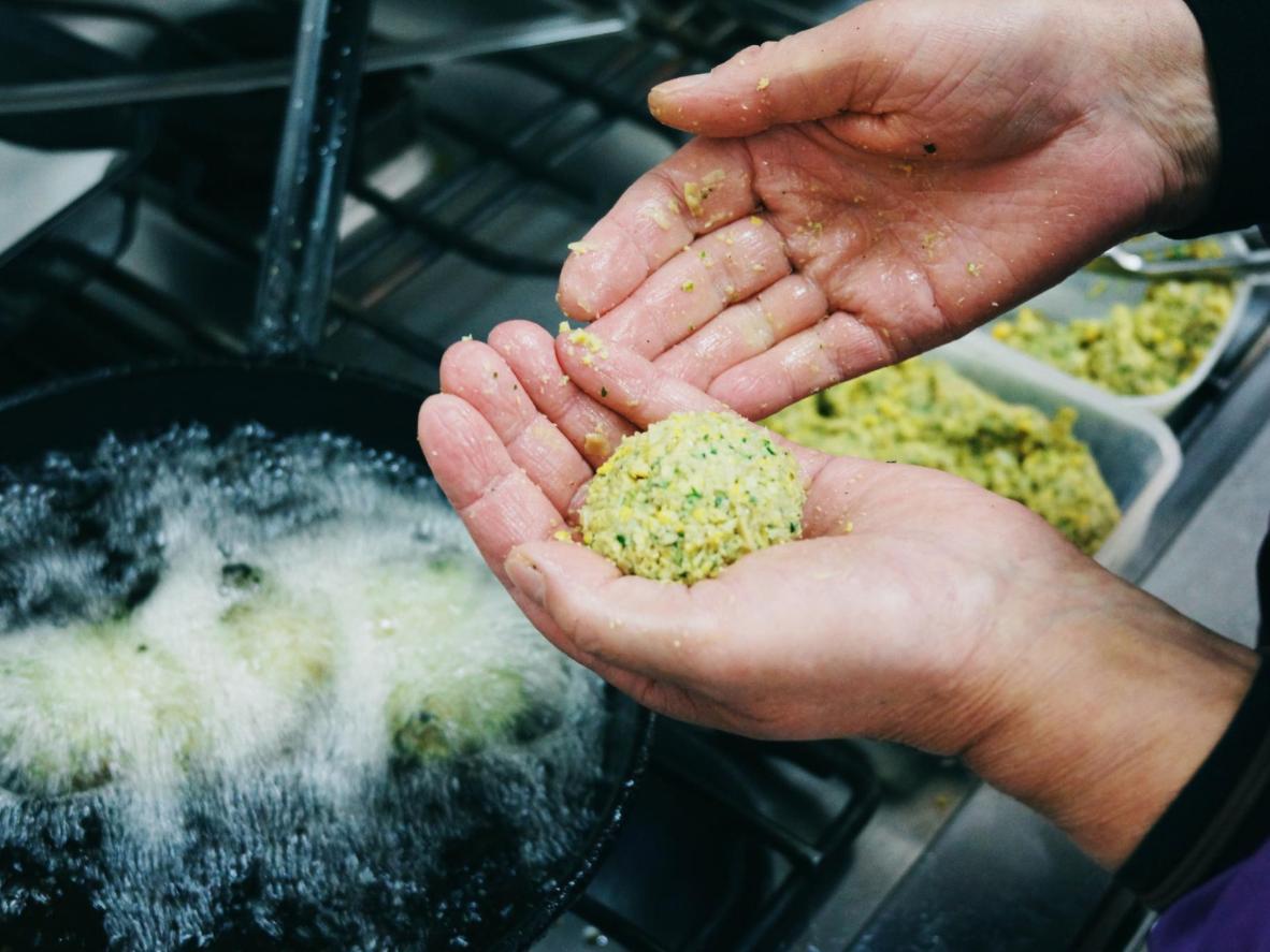 Making falafel in Athens