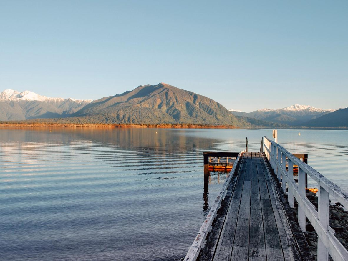 Admire mountain and lake views from the tiny settlement of Moana