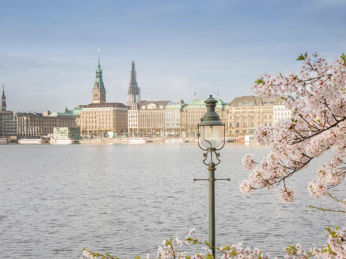 Take a stroll down the River Elbe during a warm spring day