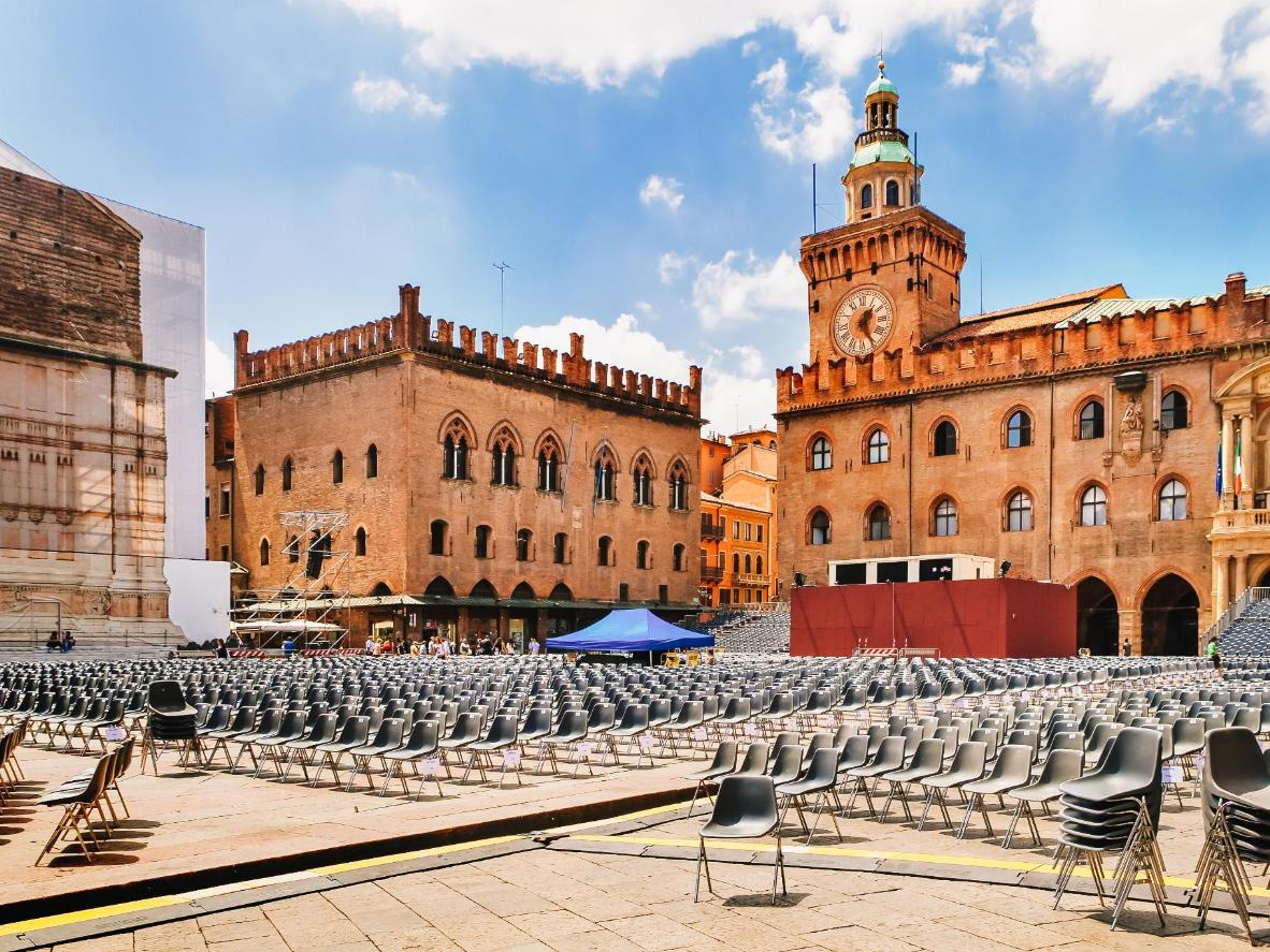 A magical cinema setting in Bologna's main square