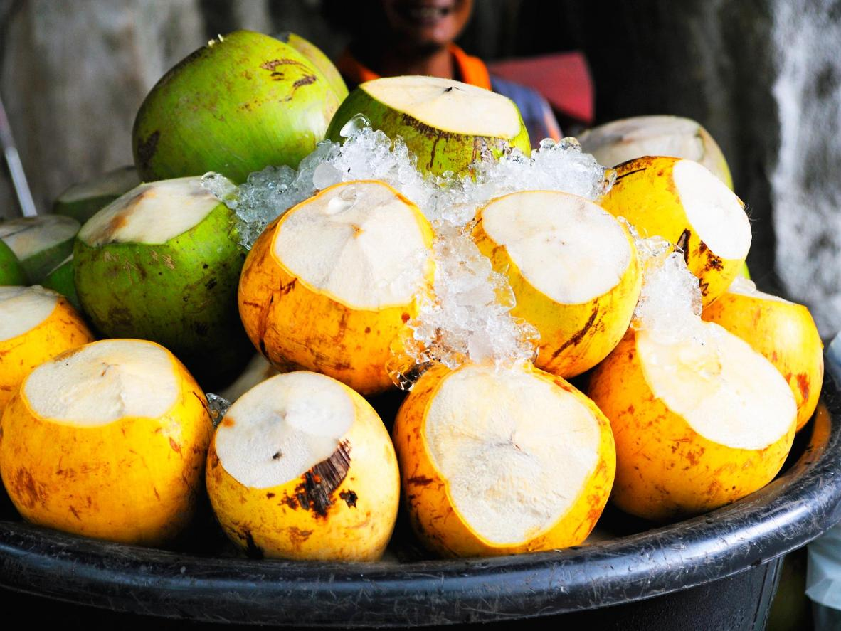 Young coconuts, on ice and ready to drink