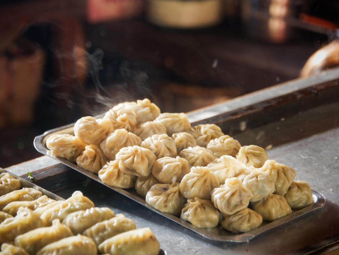 Freskly cooked steamed momos
