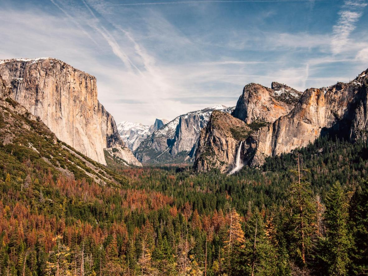 The massive granite cliffs of Yosemite National Park