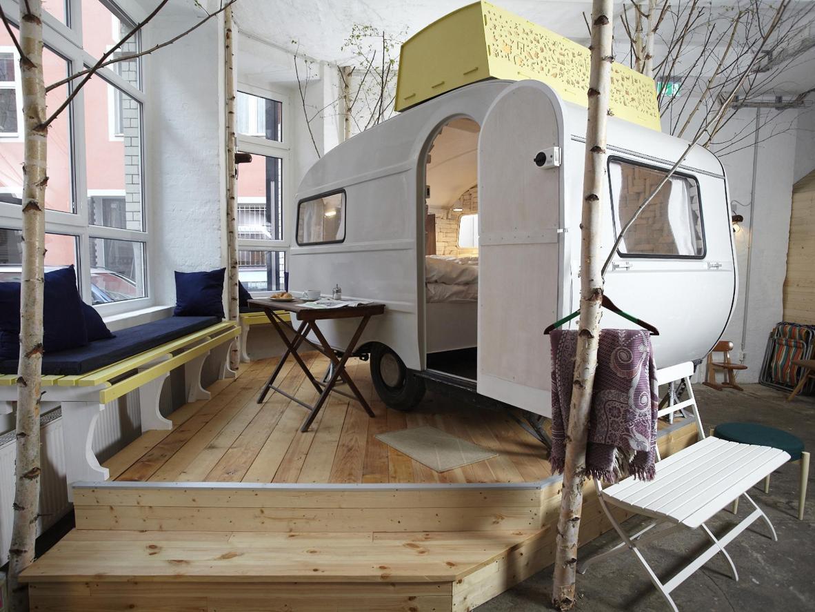 One of the Huttenpalast indoor caravans