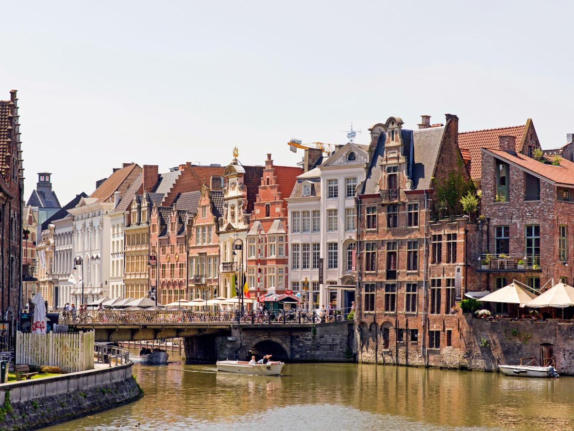 The Leie river at the heart of Belgium's canal network