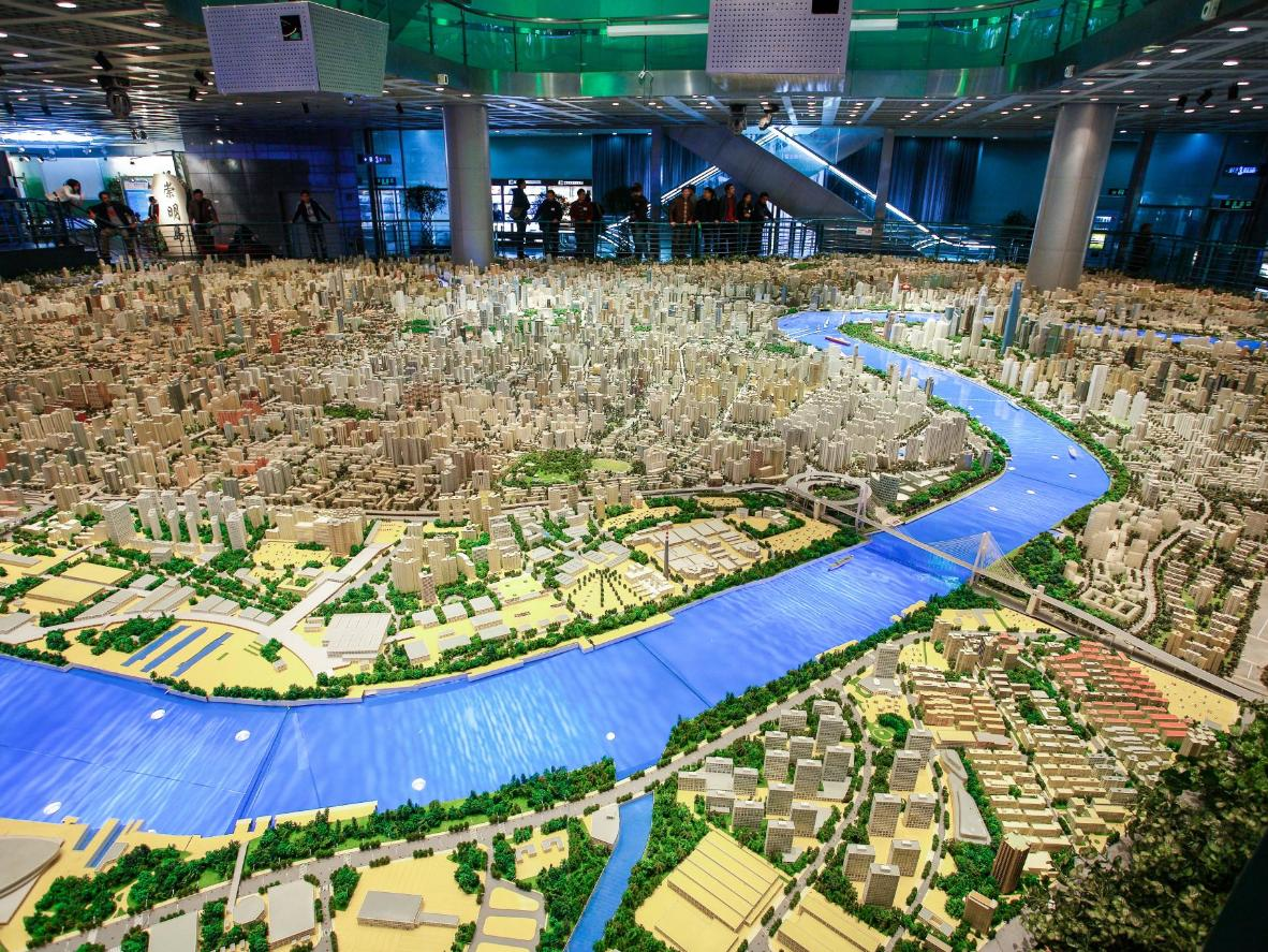 Vea un modelo en miniatura de Shanghai, ya que se espera que la ciudad se vea en 2020