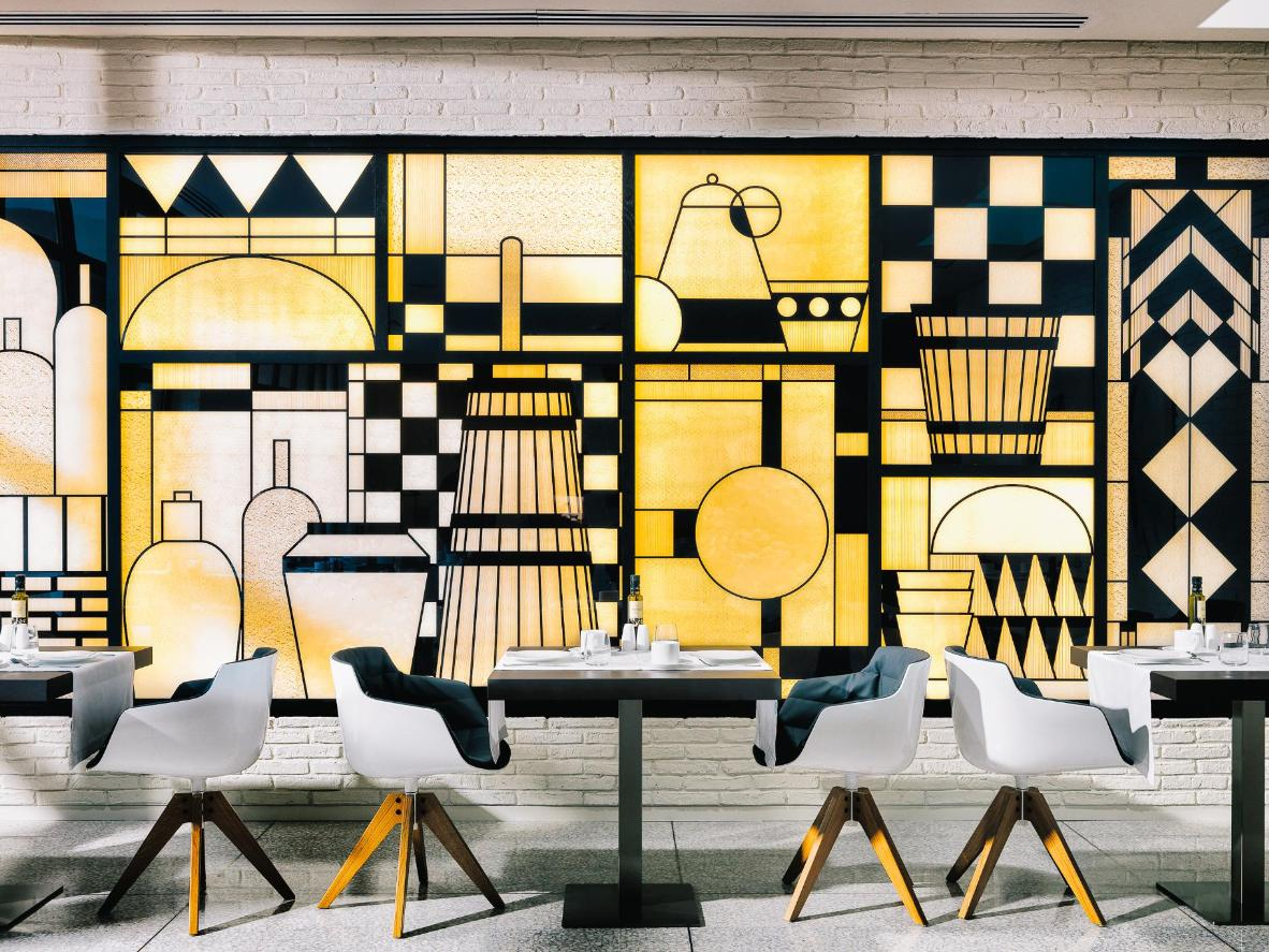 Geometric shapes and designer furniture at H10 Art Gallery in Barcelona